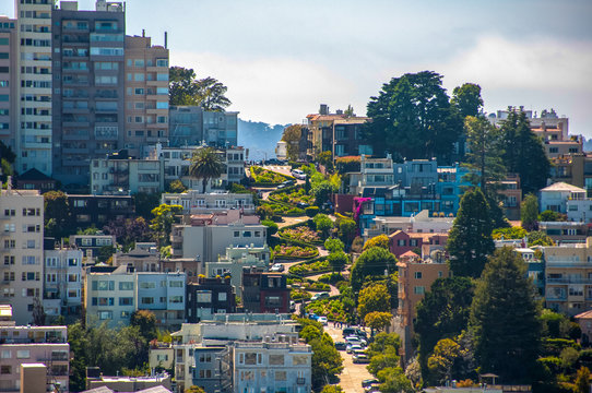 Lombard Street in San Francisco, California, USA