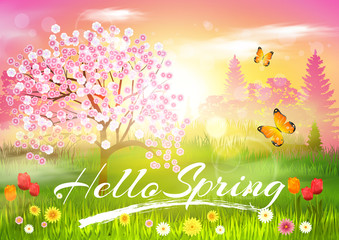 Spring. Background. Hello Spring Vector Card.