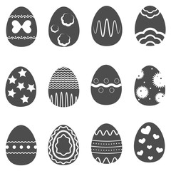 Twelve Easter eggs isolated on a gray background with an abstract patterns