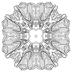 Vector illustration of Celtic raven ornament mandala black and white