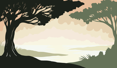 Hand drawn vector trees and lake background