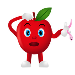 Emoji fruit. Funny Apple on a white background. Smile. Vector illustration. Cartoon.
