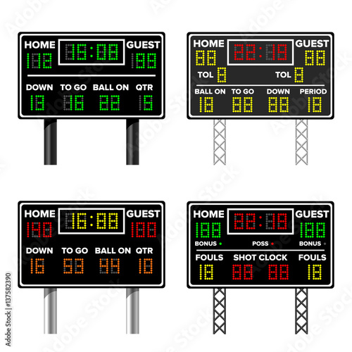 Basketball Scoreboard Time Guest Home Electronic Wireless Timer Vector Illustration