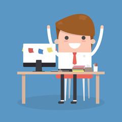 businessman use laptop on desk,vector flat design