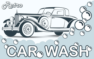Retro Car wash. Abstract Lines Logo. Vector illustration