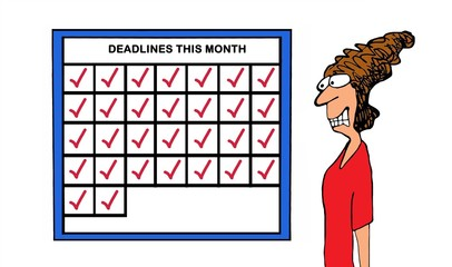 Color business illustration showing a stressed businesswoman as she looks at her calendar - every day is a new deadline.