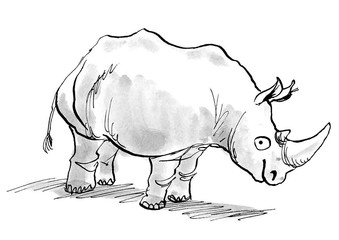 Illustration of a rhino, smiling and looking at the viewer.