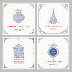 Vertical Christmas holiday cards set. Winter greeting packaging for gifts
