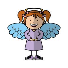 little girl angel character vector illustration design