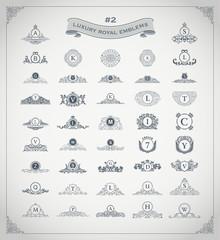 Luxury royal logo set. Crest, emblem, heraldic monogram. Vintage flourishes elements