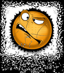 Basketball score smile. Illustration.