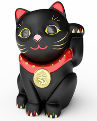 Cat Maneki Neko black 3D Illustration.