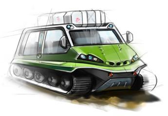 The design of modern all-terrain vehicle. Illustration.