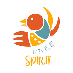 Free Spirit Slogan Ethnic Boho Style Element, Hipster Fashion Design Template In Blue, Yellow And Red Color With Bird
