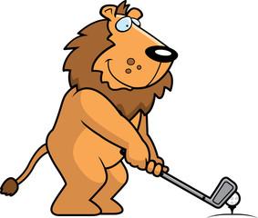 Cartoon Lion Golfing