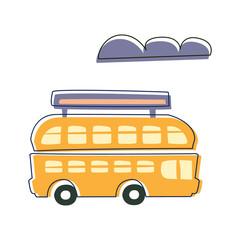 Double Decked Public Transport Yellow Bus, Cute Fairy Tale City Landscape Element Outlined Cartoon Illustration