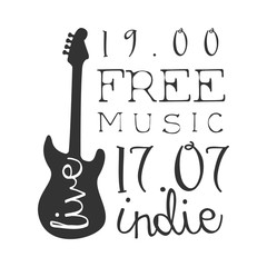 Indie Free Live Music Concert Black And White Poster With Calligraphic Text And Guitar