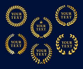 Premium Quality Labels, Golden Laurel Wreaths, Best offer Premium Vector Eps 10