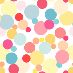 Seamless abstract pattern of association of the round elements in yellow, pink, red, blue colors on a white background.