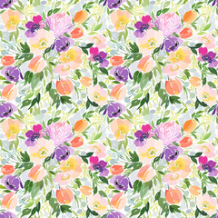 Seamless floral pattern with poppies in a bouquet with other flowers and foliage