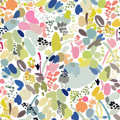 Seamless pattern with abstract many colored elements, randomly located, mosaic.