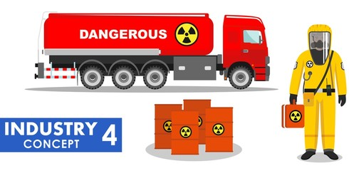 Industry concept. Detailed illustration of cistern truck carrying chemical, radioactive, toxic, hazardous substances and worker in protective suit on white background in flat style. Vector
