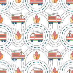 Vector seamless background with cartoon roads and fire truck. It can be used as a pattern for textile, wrapping paper, children's play mat, board games, ornamental template for design and decoration.