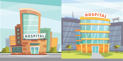 Set Hospital building cartoon modern vector illustration. Medical Clinic and city background. Emergency room exterior.