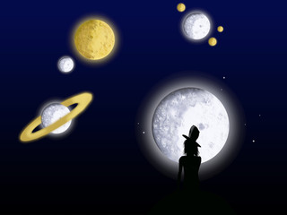 Girl watching the planets