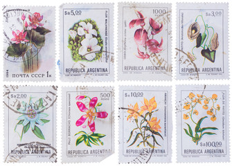 ARGENTINA - CIRCA 1983: stamp set of stamps showing flowers