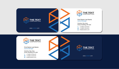 business card engineering and construction, orange and blue colors