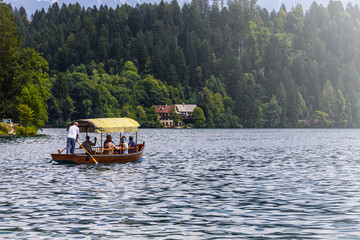 Boat on the lake of Bled (Slovenja)