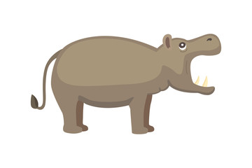 Hippo cartoon style vector. Wild herbivorous animal. African fauna