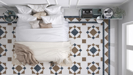 Classic bedroom, top view, with marble old vintage blue and brown tiles