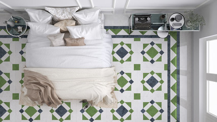 Classic bedroom, top view, with marble old vintage blue and green tiles