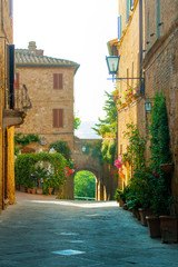 Narrow street in Pienza (Tuscany, Italy)