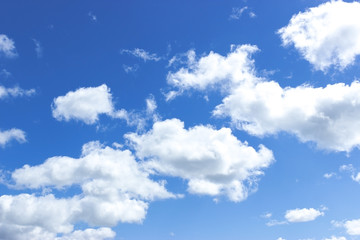 Blue sky with clouds. Cloudy blue sky.