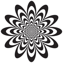 Op Art Flower in Black and White