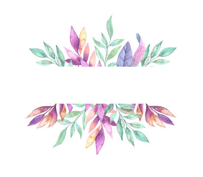 Hand drawn watercolor illustration. Frame with Spring leaves. Floral design elements.  Perfect for invitations, greeting cards, blogs, posters and more