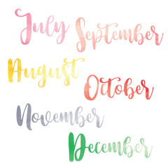 Water color brush handwritten hand lettering names of months