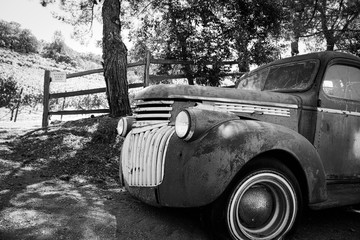 Vintage Car on Farm