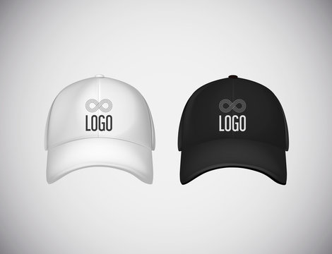 Realistic front view black and white baseball caps with logo lettering for advertising isolated on white background vector illustration.