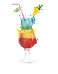 Cocktail strawberry daiquiri  mojito rainbow watercolor painting illustration isoltaed on white background