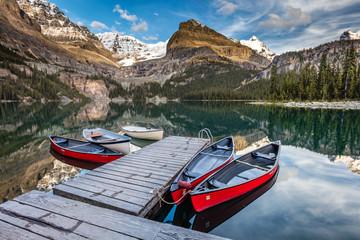 the iconic red canoes at Lake O'hara, British Columbia