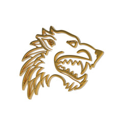 3d illustration of golden dire wolf head on white background