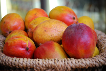 Basket of fresh mangoes