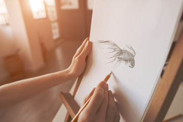 close up on the hands of an artist drawing a pencil sketch of a fish