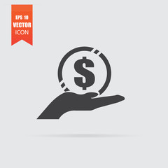 Money in hand icon in flat style isolated on grey background.