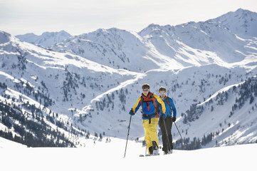 Backcountry skiers on the move, Alpbachtal, Tyrol, Austria, Europe