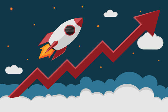 Rocket ship take off in cosmos and a red graph increase. Business launch and development, the growth of the economy, new project investments up.